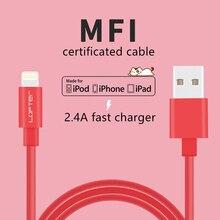 1 M, MFI câble de données + charge rapide 2.4A, pour iphone, ipad, ipod, stable et rapide, élastique fil de données, apple société certifié sûr