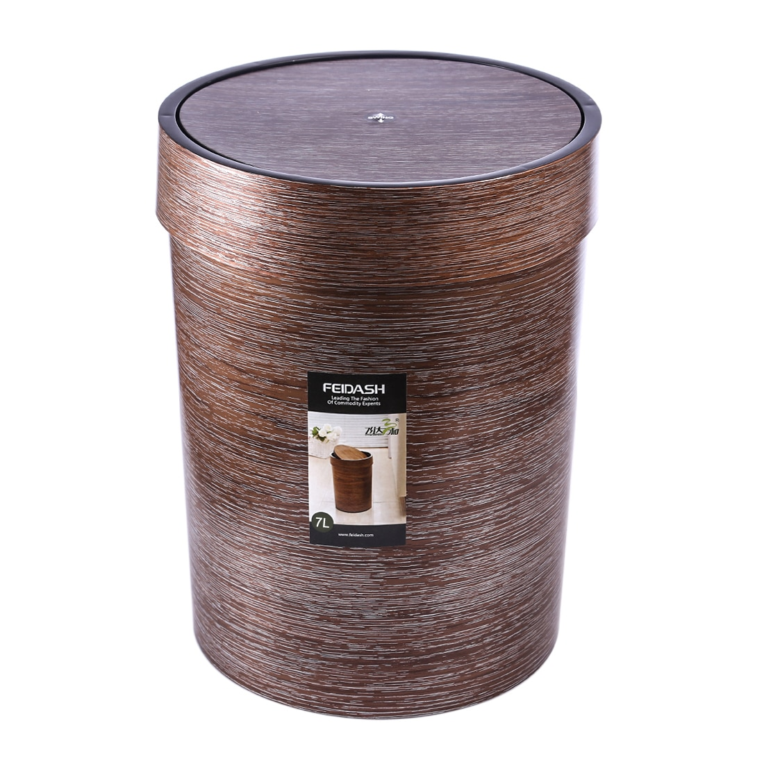 20.3 X 26.1cm 7L Household Plastic Roll Cover Trash Can Living Room Paper Basket Kitchen Storage Bucket Garbage Bag Dispenser