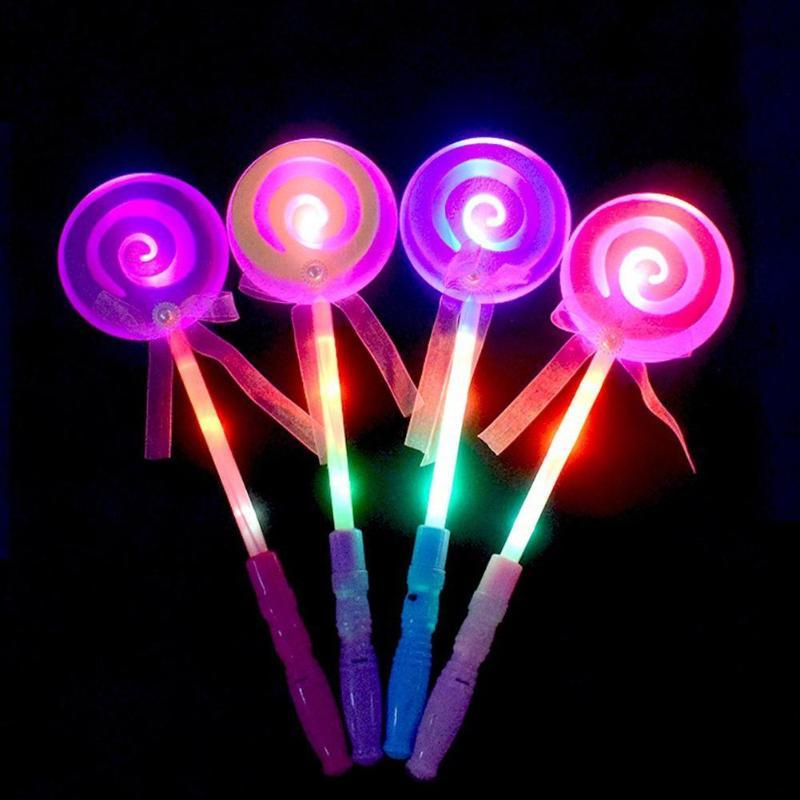 Colorido azúcar forma de corazón Glow Sticks luz LED juguetes chico niños adultos Lolly Magic Flashing Sticks Toy regalos de fiesta de Navidad
