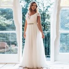 Robe de mariée 100% conte grande taille 2019 longue col en v à manches courtes brosse Train Illusion taille bijoux robe de mariée dété