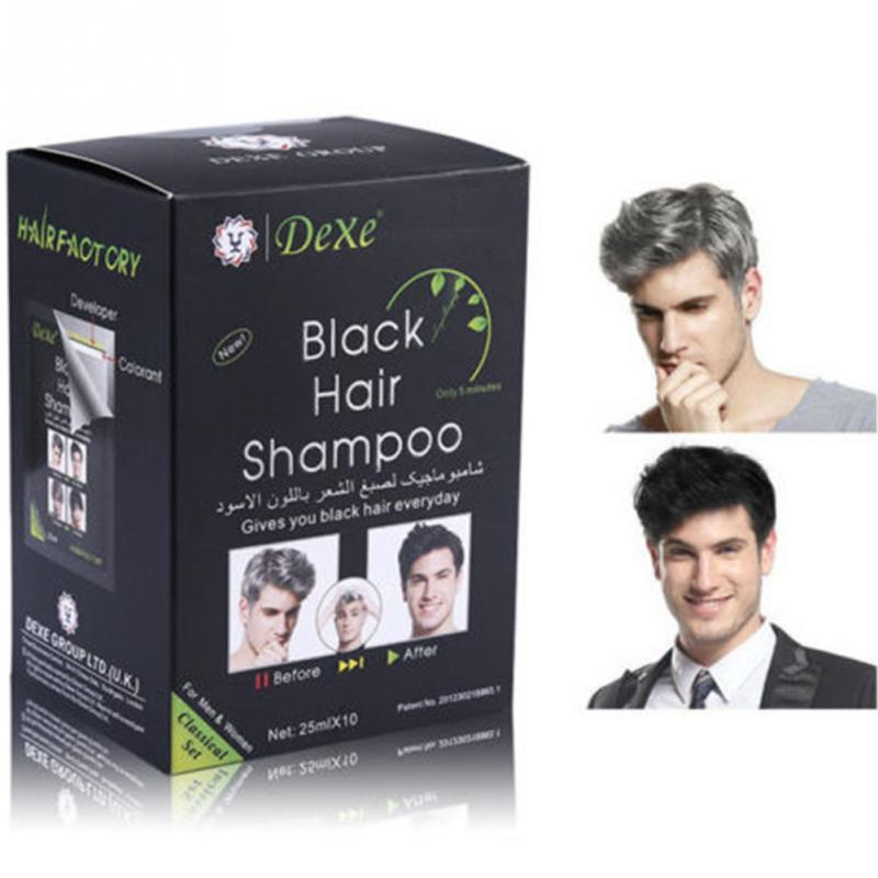 10 шт. натуральный растительный черный шампунь для волос, краска для волос, затемняющие и блестящие волосы серого и белого цвета #1213