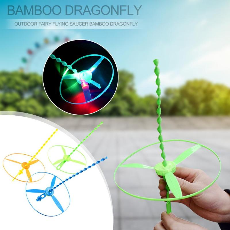 1 unidad de platillo giratorio Hada para exteriores volador, helicópteros de libélula de bambú, juguetes con luz Led, juguetes educativos para niños, regalo para niños