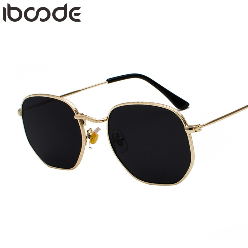 Nuevas gafas de sol iboode Vintage doradas con montura cuadrada de Metal para hombre, gafas de sol pequeñas negras y marrones plateadas, gafas de sol Unisex de estilo veraniego para mujer