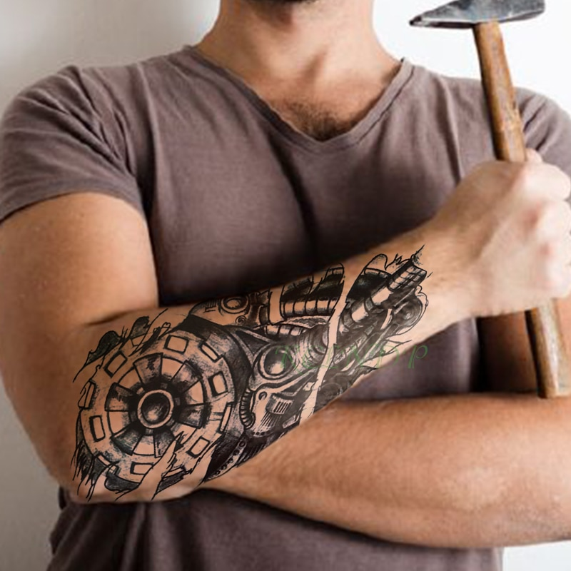 Wasserdicht Temporäre Tätowierung Aufkleber getriebe instrument rohr tatto flash tatoo gefälschte tattoos für männer männlichen frauen