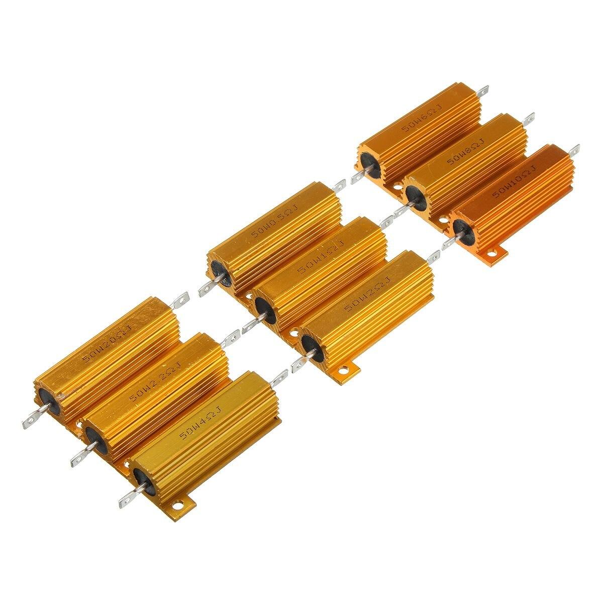 Nova marca 50 w 0.5 1 2 2.2 4 6 8 10 20 r ohm power caso escudo de metal resistor wirewound