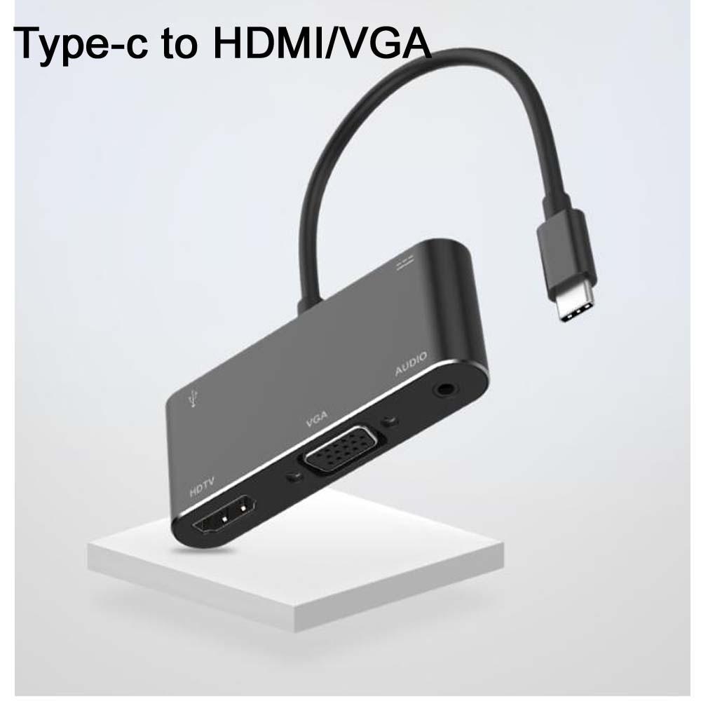 USB-C tipo C a HDMI VGA de 3,5mm de Audio de adaptador de 5 en 1 USB 3,1 USB-C convertidor de Cable para ordenador portátil Macbook Samsung S8/9 Nota 8