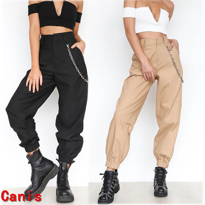 Nouveau femmes chaudes Cargo pantalon taille haute survêtement pantalon maigre décontracté poches latérales pantalons de survêtement
