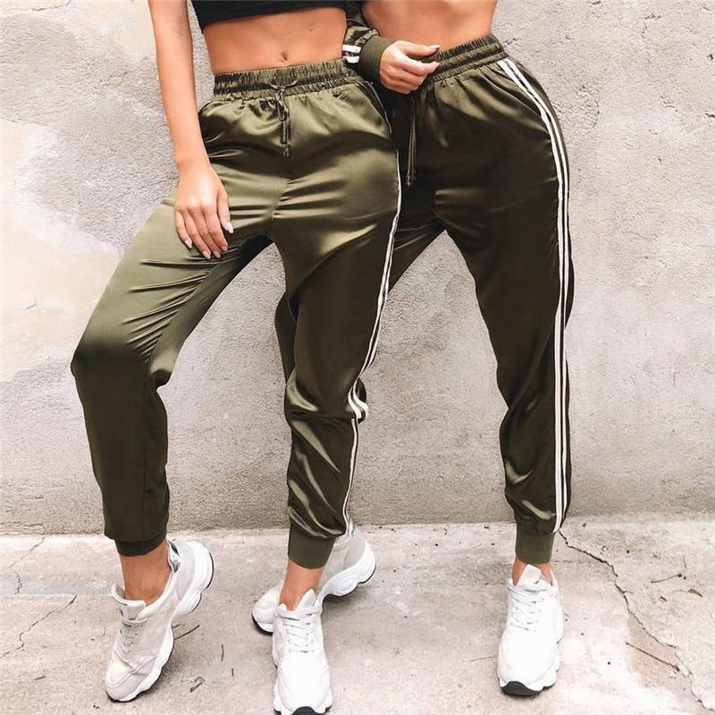 Mode Frauen Damen Hohe Taille Gestreiften Track Hosen Elegante Fitness Stretch Party Club pantalon femme dames kleding Streetwear