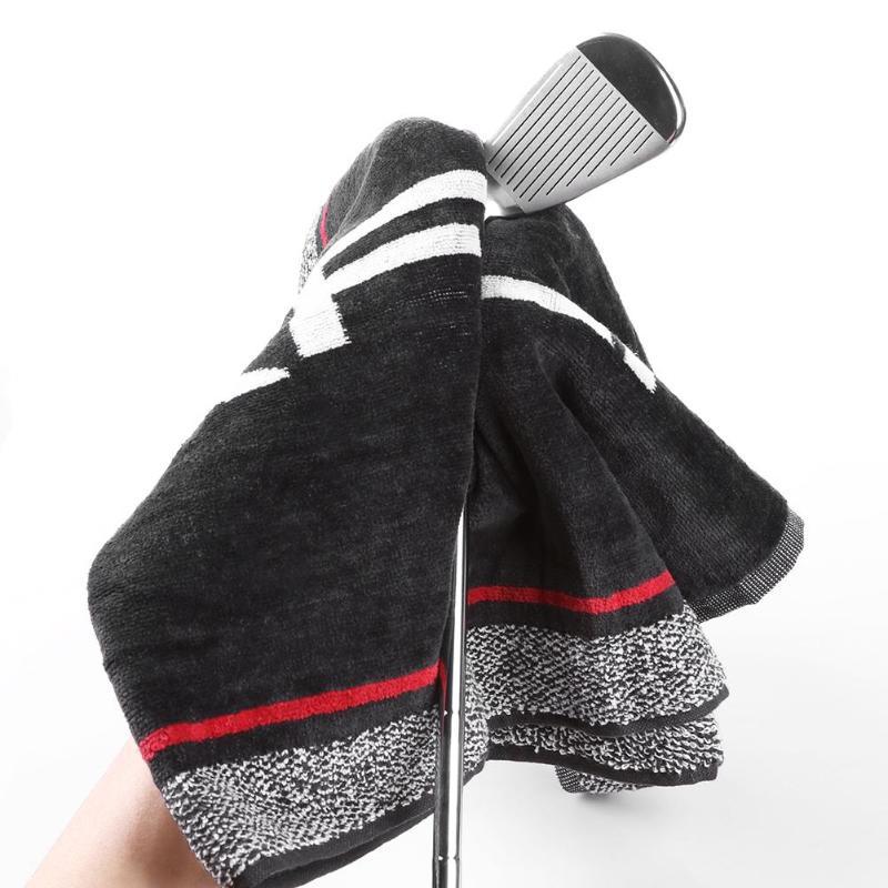 Хлопковое удобное мягкое спортивное полотенце для гольфа, мочалка с держателем для гольфа, принадлежности для тренировок, чистки клюшек для гольфа