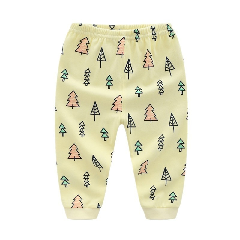 Niños niño Niña Pantalones 100% algodón árbol de Navidad impreso niño Leggings pantalones de pijama para niños suave cálido