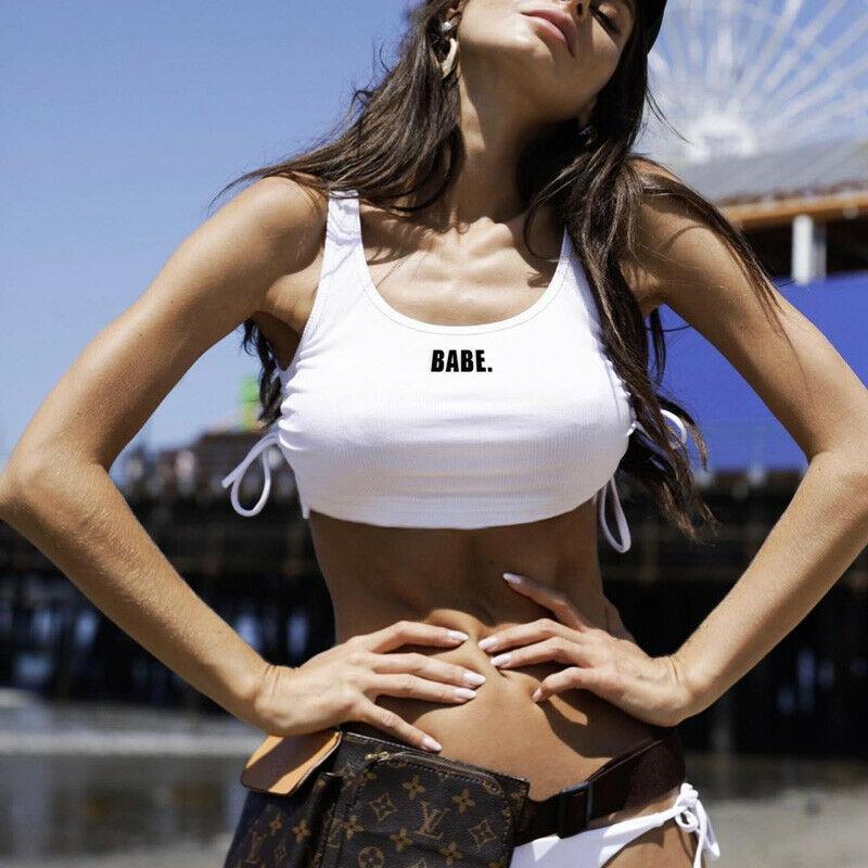 New Womens Print Strappy U Neck Bandage Cami Basic Bralet Gym Sports Running Crop Bra Vest Top