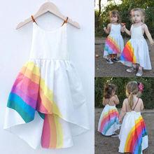 Princess Dress Kid Baby Girls Party Pageant Cute Sleeveless Backless Strap Rainbow Beach Tutu Dresses 1-6T