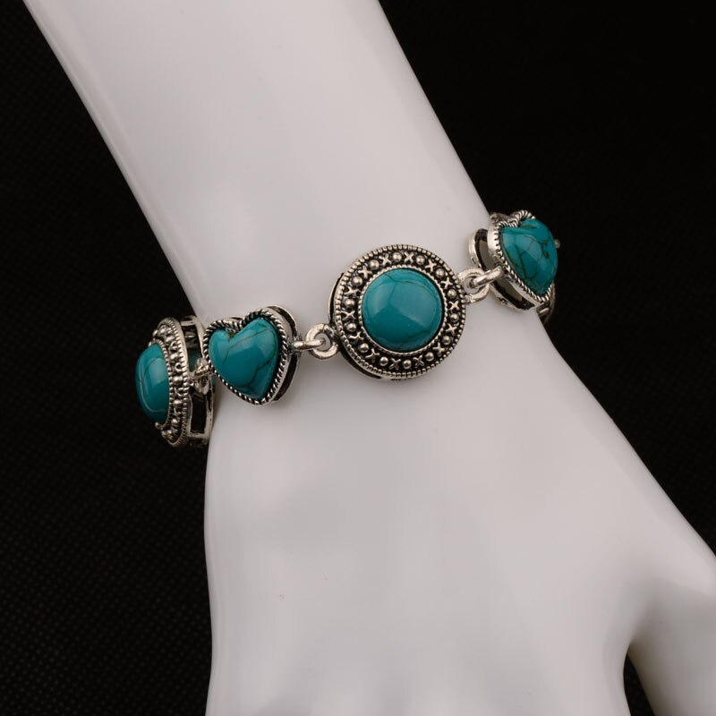 20/22cm Bohe Bohemian Antique Silver Color Vintage Round Heart Charm Blue Stone Bracelet Bangles For Women Fashion Jewelry