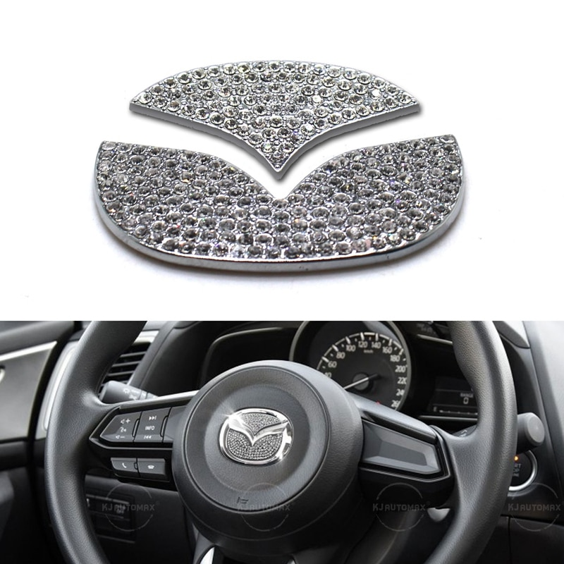 KJAUTOMAX para Mazda 3 6 CX-5 CX-3 CX-7 volante el logotipo de Bling diamante emblema adhesivo