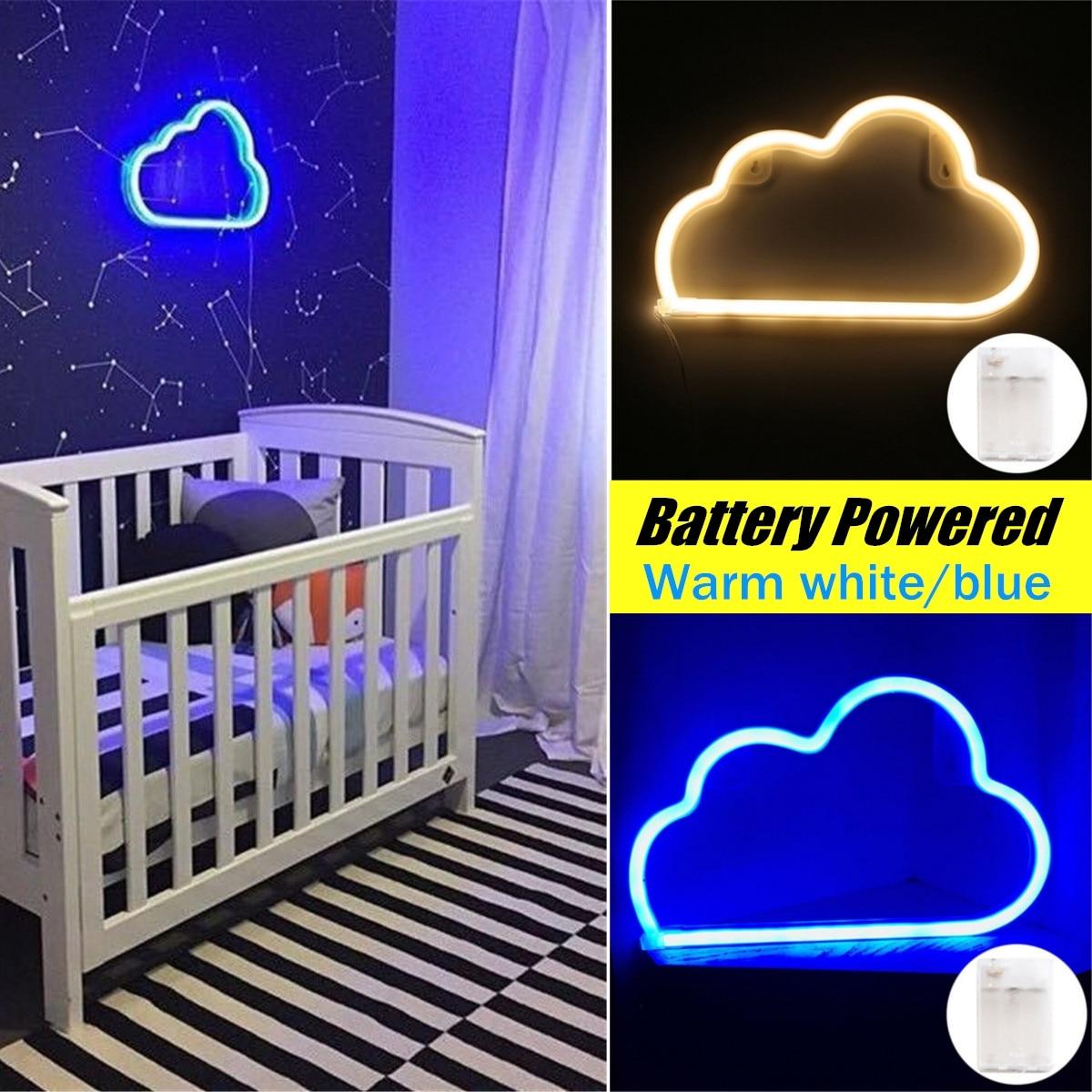 LED letrero de neón de plástico con luz nocturna, lámpara de pared con diseño de nube, adornos de Bar para dormitorio, decoración de fiesta navideña, regalos de iluminación de vacaciones