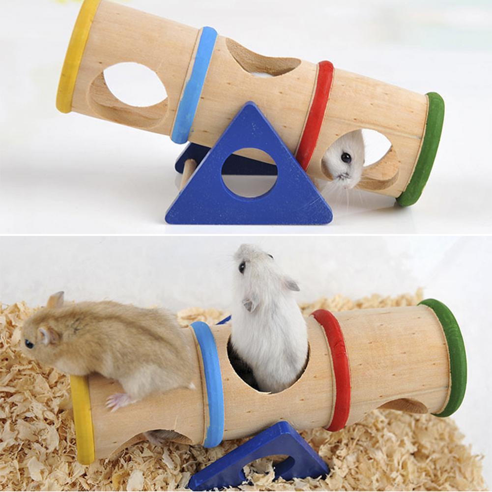 Divertido hámster juguete pequeño animal balancín de arco iris Túnel de madera hámster/Chinchilla/conejo/conejillo de indias balancín de juguete