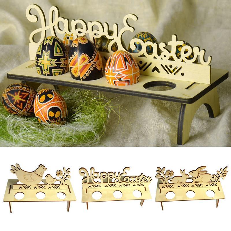 Estante de huevos de Pascua de madera, decoración DIY de Pascua para tienda en casa, ornamento para ventana, bandeja de huevos de Pascua de conejo y polluelo, decoración de Pascua hecha a mano