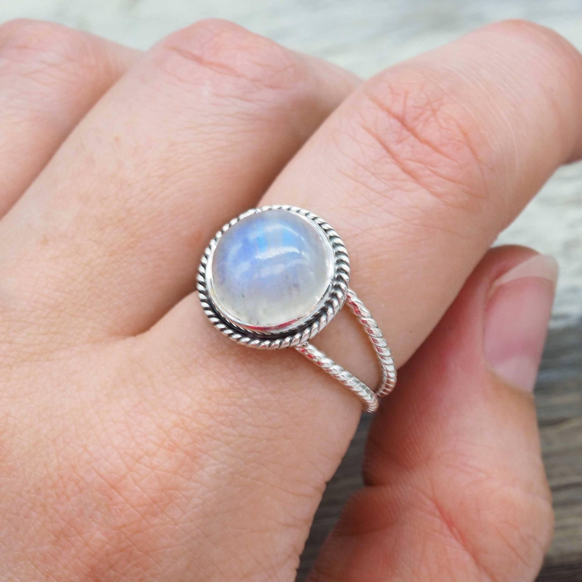 Piedra Lunar anillo tailandés plateado Color 925 Circular piedra lunar Anillos De boda bisutería turquesa Diamante Anillos De mujer