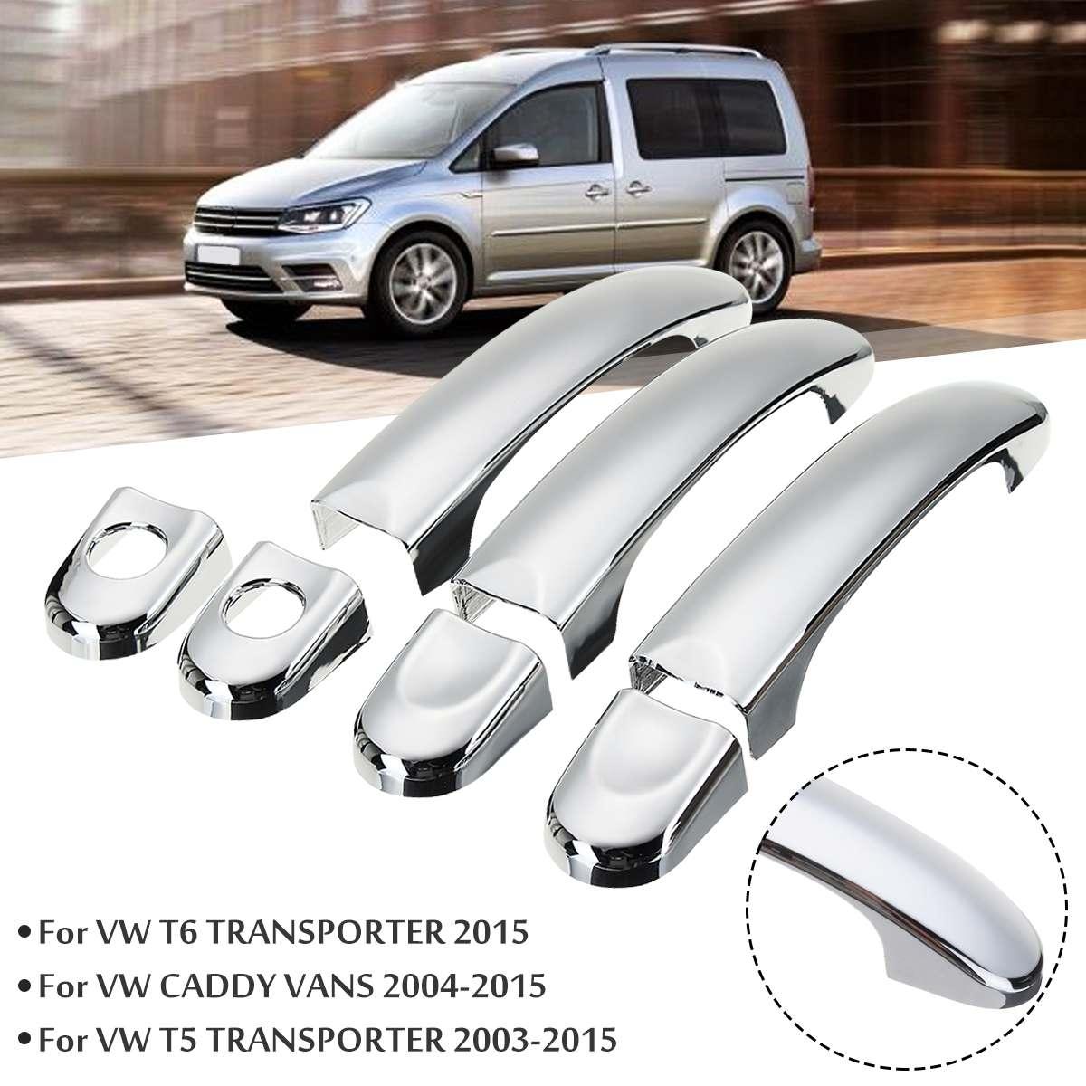 Para VW Transporter T5 Caddy 2001-2013 8x/7x/6x Auto Chrome puerta de acero inoxidable Set de cubiertas de manija