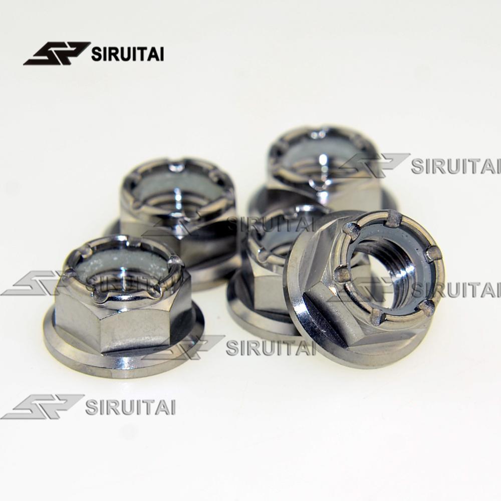Tuerca de bloqueo de nylon de brida de aleación de titanio M10p1.25 tuerca de cadena de motocicleta Kawasaki cadena nut5 uds/6 uds