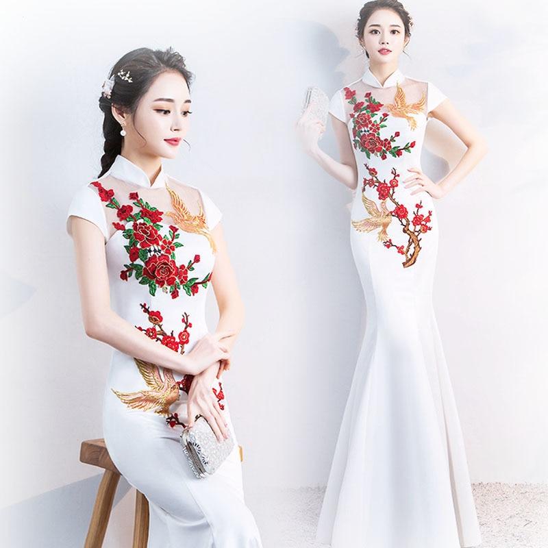 Chino tradicional cheongsam por la noche vestido blanco Phoenix mucho Qipao de Shanghai Oriental estilo China encanto Xxxl femenino Vintage