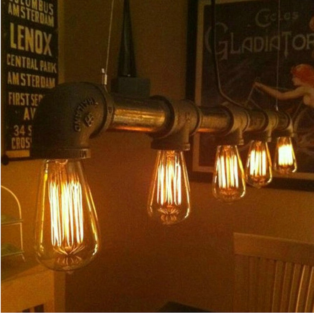 Luzes pingente do vintage metal ferro tubulação de água lâmpada steampunk lâmpadas e27 lâmpadas pingente lâmpada armazém barra iluminação contador lâmpadas