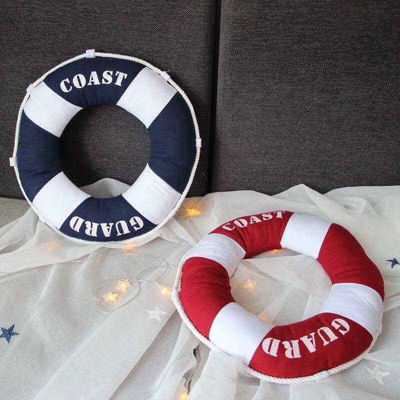 40x40 centímetros Estilo Mediterrâneo Decorativa Em Forma de Anel de Vida Bóia Salva-vidas Náutico Lance Almofada Travesseiro Decorativo Adereços de Decoração Para Casa