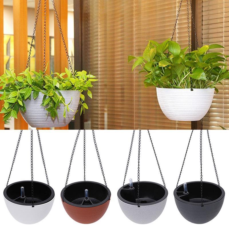 Maceta semicircular para colgar Flores, maceta que combina con todo, maceta autoabsorbente para plantas, decoración de jardín, suministros para jardín al aire libre