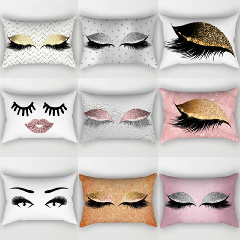 Brand New Style Creative Eyelash Polyester Pillow Case Waist Throw Home Decor