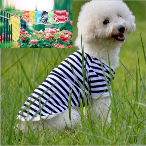 Varias rayas mascota cachorro pequeño perro gato mascota ropa vestido chaleco camiseta ropa