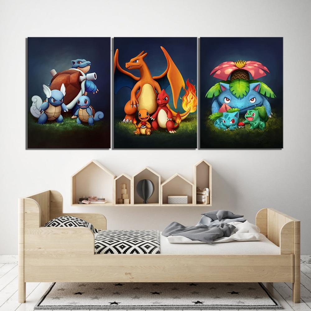 Póster de Pokémon de 3 piezas con bolsillo de Anime, imagen de pared de dibujos animados de Blastoise Charmander Bulbasaur, decoración de pared de habitación para niños