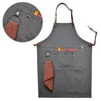 LUDA Senior Denim Cowboy Bbq Apron Bib Leather Straps Kitchen Apron For Women Men Barber Cooking Restaurant Waitress