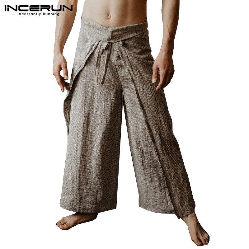 Pantalones de pescador tailandeses para hombre 2020, pantalones de Yoga holgados Vintage de Color liso para mujer, pantalones de pierna ancha, pantalones S-5XL hombre