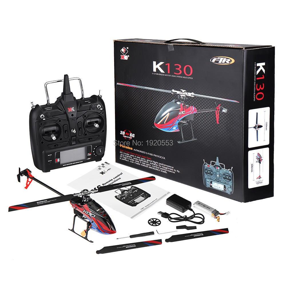 Wltoys XK K130 2,4G 6CH sin escobillas 3D 6G sistema Flybarless RC helicóptero RTF Super Combo Compatible para FUTABA S-FHSSRTF