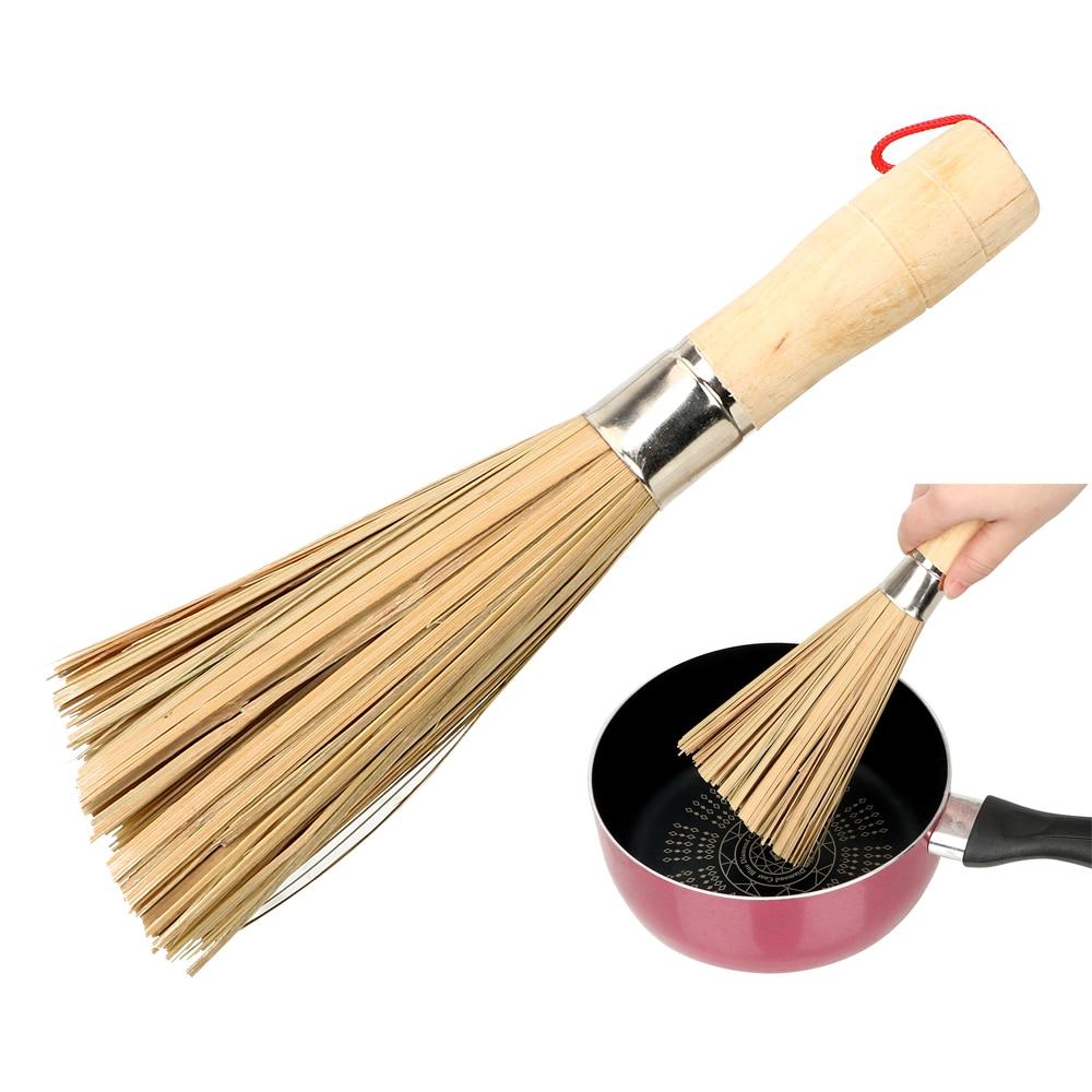 Bambú Natural artesanal cepillo cocina lavar los platos herramientas de la olla de lavado cepillo de aceite antiadherente duradero mango de madera