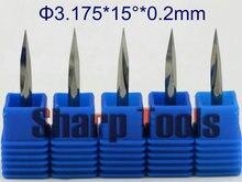 Outils de gravure de CNC de peu de routeur en bois de coupeur de 15 degrés 3.175*0.2MM 3-Edge V, fraise en bout de carbure CNC outil de routeur de peu de gravure de carte PCB