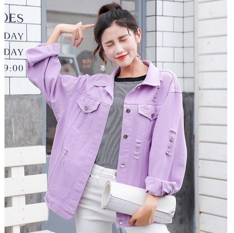 Женская джинсовая куртка A9121, Повседневная Свободная фиолетовая куртка на одно плечо