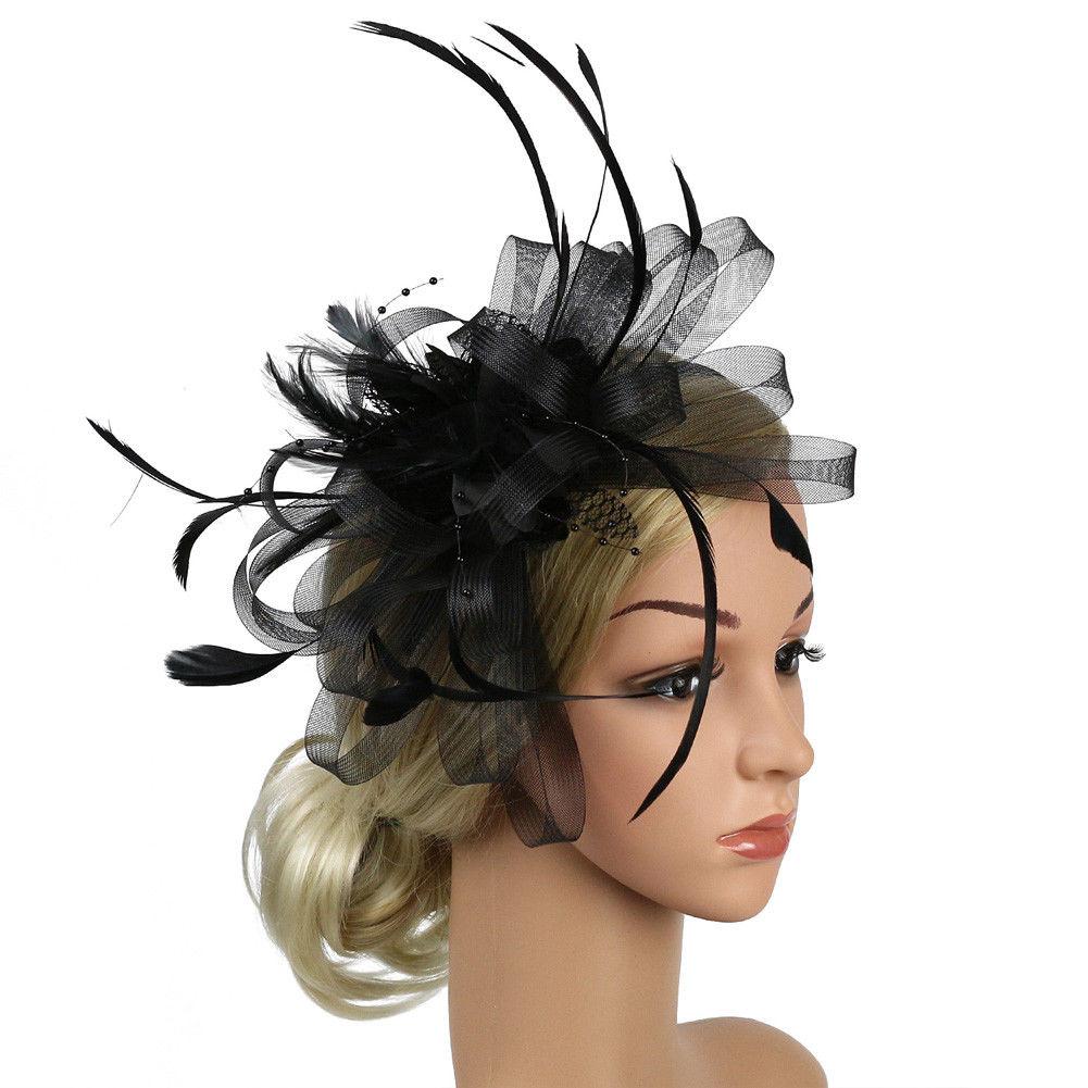 Mode Feder Mesh Fascinator Hut Haar Clip Frauen Cocktail Hochzeit Braut Hut Fascinator Damen Kleid Haar Stirnband