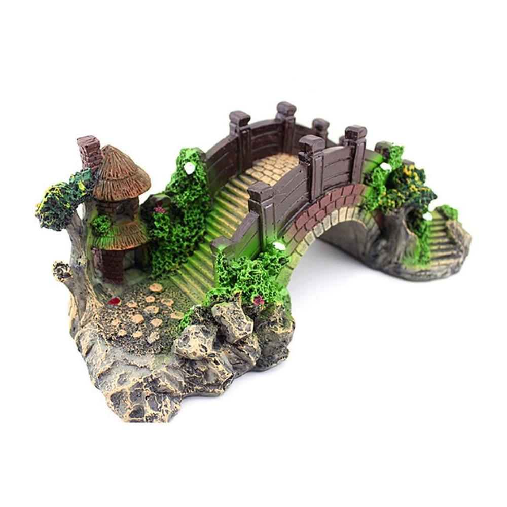 Puente de juguete de Peces Accesorios de decoración del hogar puente de roca paisaje pabellón árbol de resina para pecera adorno decoración para acuario