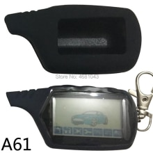 A61 keychain 2-way LCD Remote Control Key Fob + Silicone Case For Russian Vehicle Security Two Way C