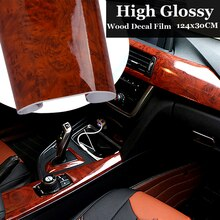 1PC High Glossy Wood Grain flexible Vinyl Maroon Sticker Decal water Proof protect Car Internal DIY Film 30x124CM auto Stickers