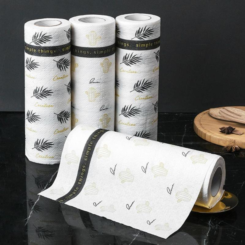 30 hojas/rollo multifunción lavable papel de cocina impreso papel absorbente de aceite papel de cocina trapo de limpieza Gadget