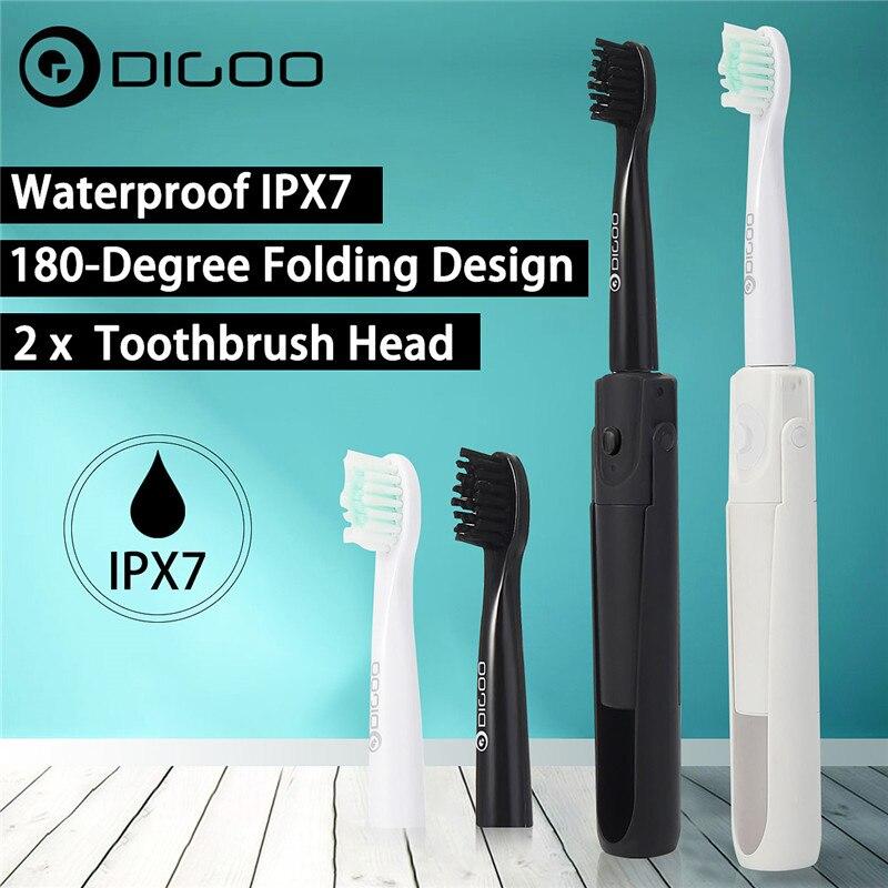Digoo DG-LS11 cepillo de dientes eléctrico plegable de viaje 2 cabezales de cepillo portátil IPX7 cepillo de dientes impermeable portátil de viaje
