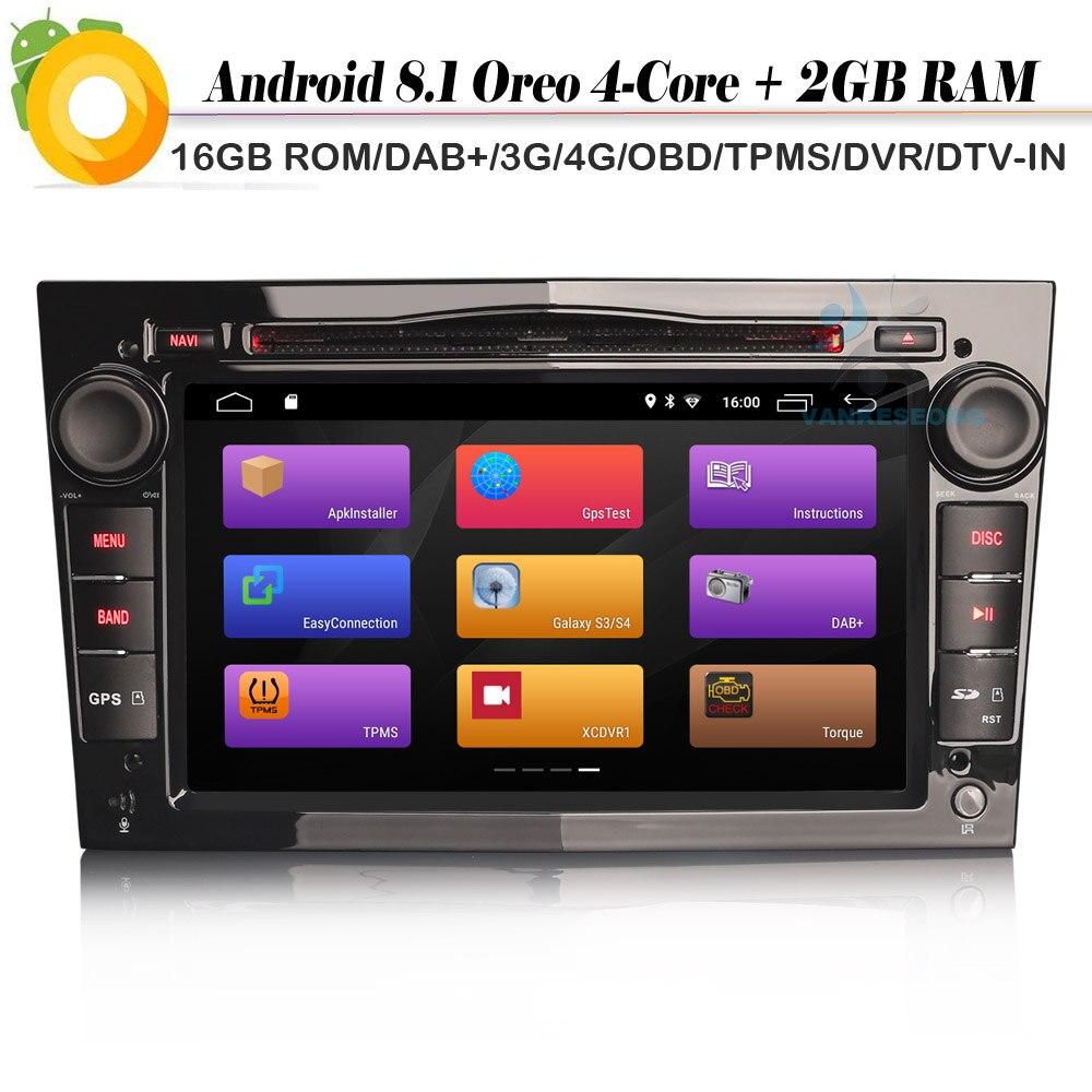 DAB + Quad Core Android 8,1 Autoradio WiFi 4G Radio DVR OBD Bluetooth CD de coche reproductor para Opel Antara Combo Meriva Signum se sentó Navi