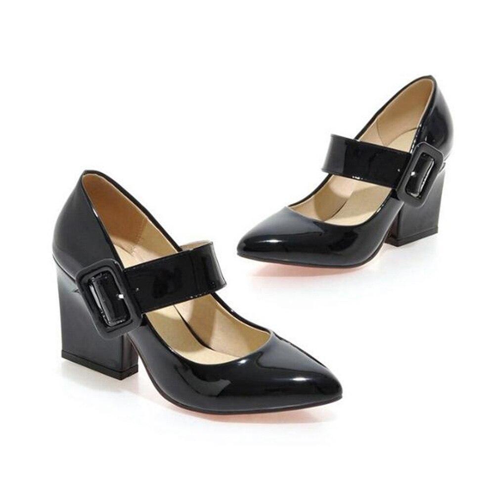 Sapato de salto alto grosso maria janes, calçado feminino de salto alto vermelho preto e branco com amortecedor 34-43