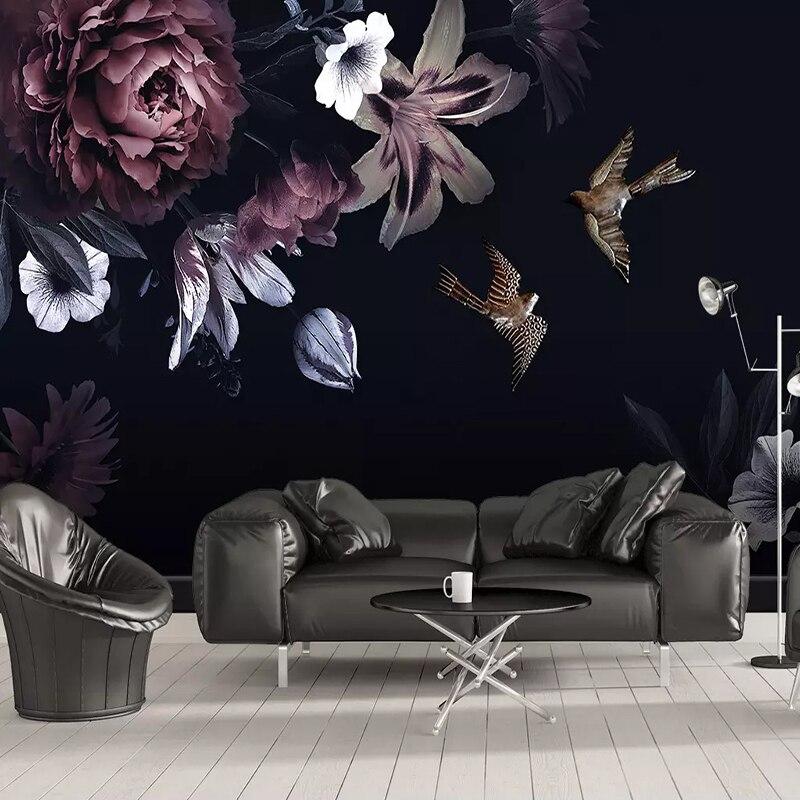 Настенные 3D обои с черными цветами на заказ, ручная роспись, пион, настенная живопись для гостиной, ТВ, дивана, фон для стены, домашний декор, Френки
