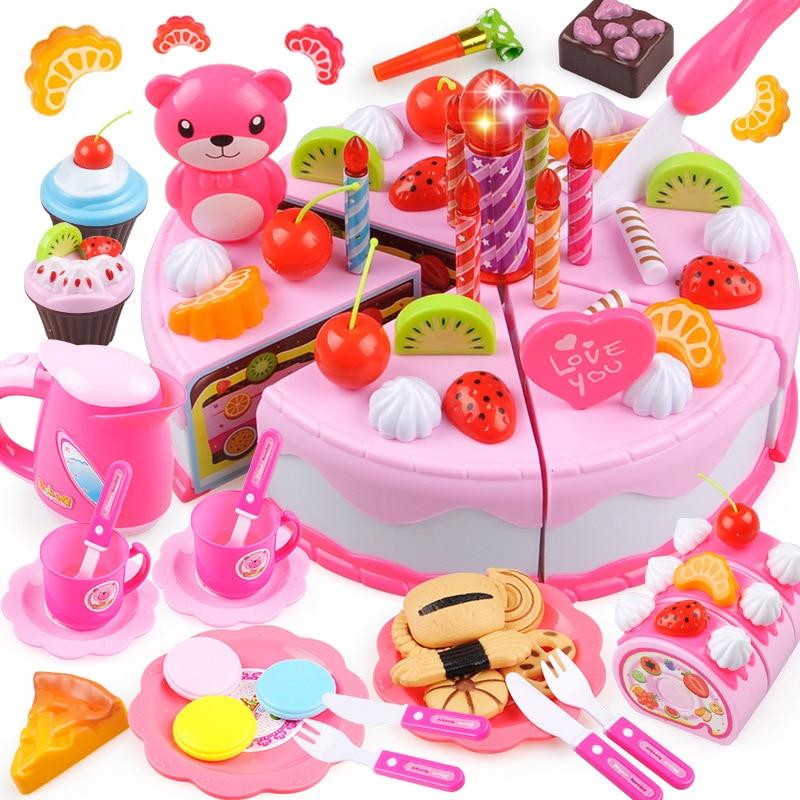 37-80 шт DIY торт игрушка кухня еда ролевые игры резка фрукты день рождения игрушки Cocina De Juguete розовый синий для детей образовательный подарок