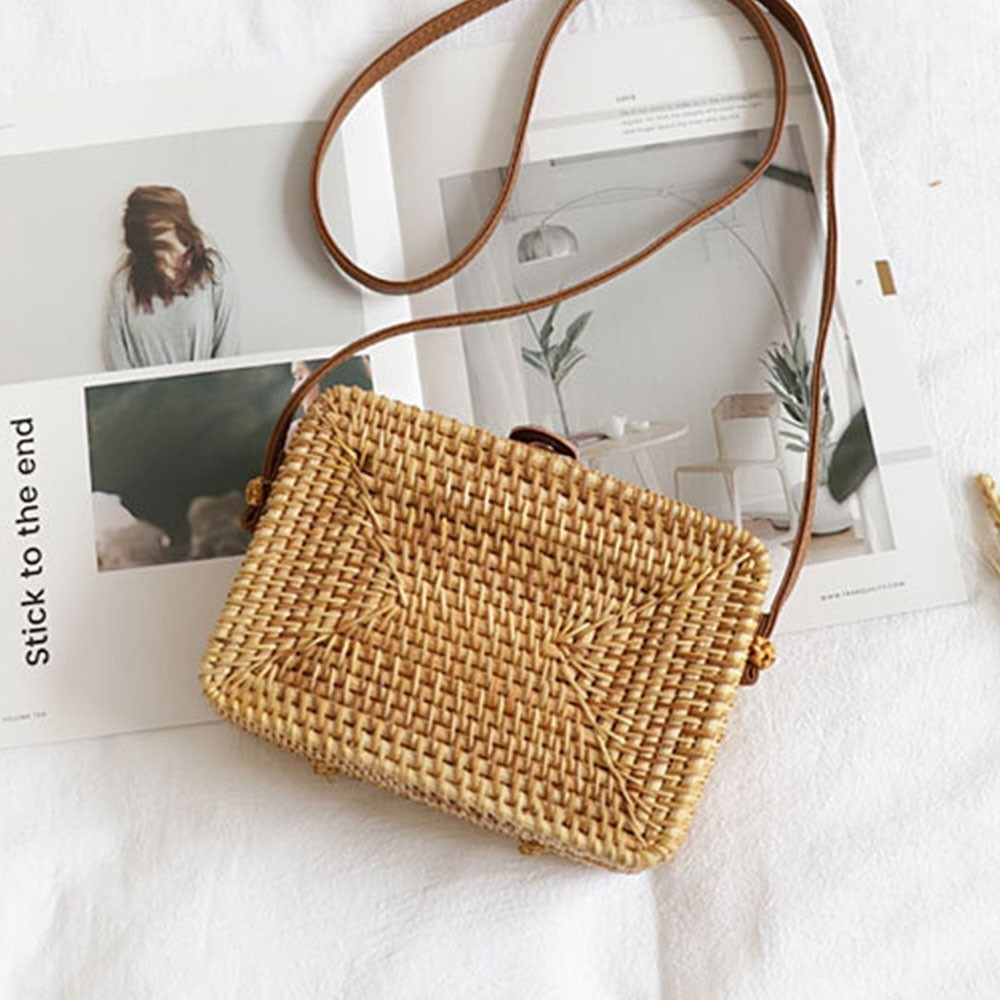 TTOU-حقيبة يد دائرية من الروطان للنساء ، حقيبة صيفية من القش ، منسوجة يدويًا ، للشاطئ ، على الطراز البوهيمي ، صندوق بالي ، دروبشيبينغ