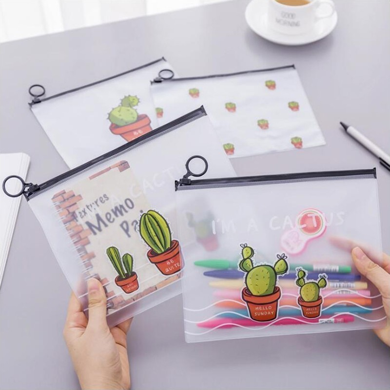 1 Uds. Estuche de lápices japonés Scrub Cactus Ring Flat Pull Bag translúcido lápiz Bag Oficina papelería y útiles escolares