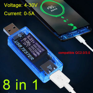 8in1 USB Monitor Detector Tester Capacity Voltage Current power Charge Discharge blue